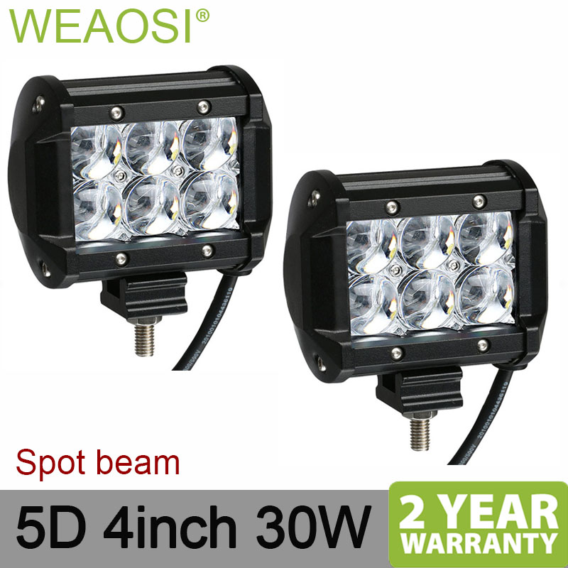 double rows 4inch 30W 5D LED work light spot flood 12v 24v high power waterproof image
