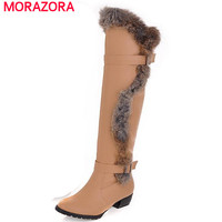 MORAZORA Winter 2017 Top Quality Knee High Boots For Women Warm Comfortable Slip On Solid Low