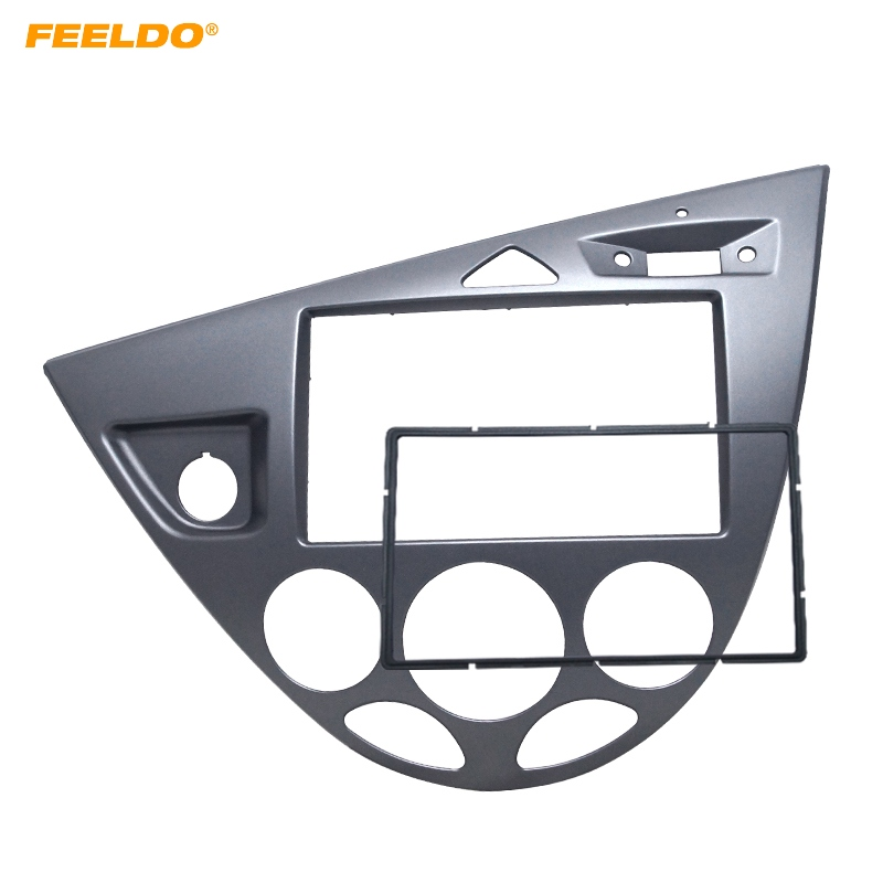 FEELDO Gray Car 2DIN Stereo Panel Fascia Radio Refitting Dash Trim Kit For Ford Focus 98~04(LHD)/Fiesta 95~01(LHD) #AM5054 lhd
