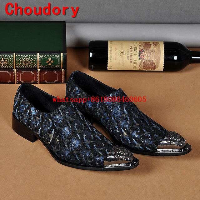 Les nouveaux hommes chaussures de mariage avec métal Pointy Slip orteil Homme Chaussure Chunky talon Hommes Robe Mocassins de fc4DhMlCN