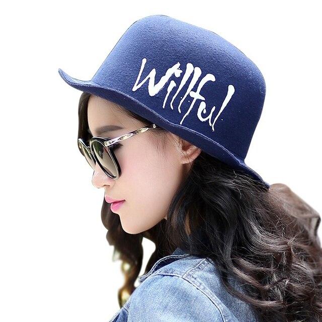 2016 горячая распродажа новинка корейски популярный шерсть - как котелок хлопок высокое качество письмо синий свободного покроя путешествие шляпа солнца