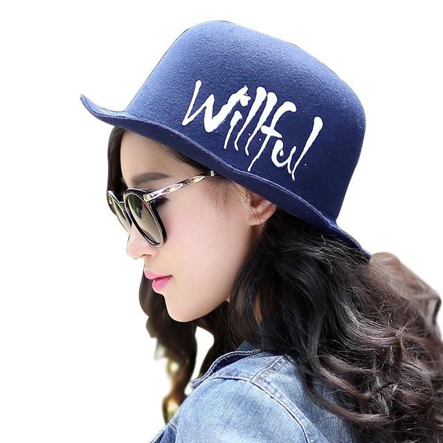 2016 venta caliente nuevo diseño estilo coreano Popular de lana como Bowler Hat Cotton carta alta calidad azul Casual recorrido sol sombrero