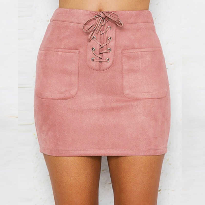 390bce63c4 Sexy Lace Up Leather Suede Skirts Women Vintage Ladies Chamois Pencil Skirt  Bandage High Waist Party