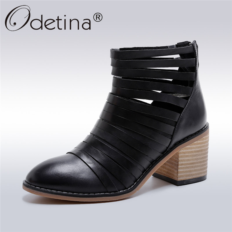 Odetina 2017 New Fashion Luxury Genuine Leather Ankle Boots Woman Retro Shoes Chunky Heel Booties Mid Heel Casual Shoes Autumn 2017 autumn women natural leather famous ankle oxford shoes european fashion woman retro oxfords with buckles female luxury