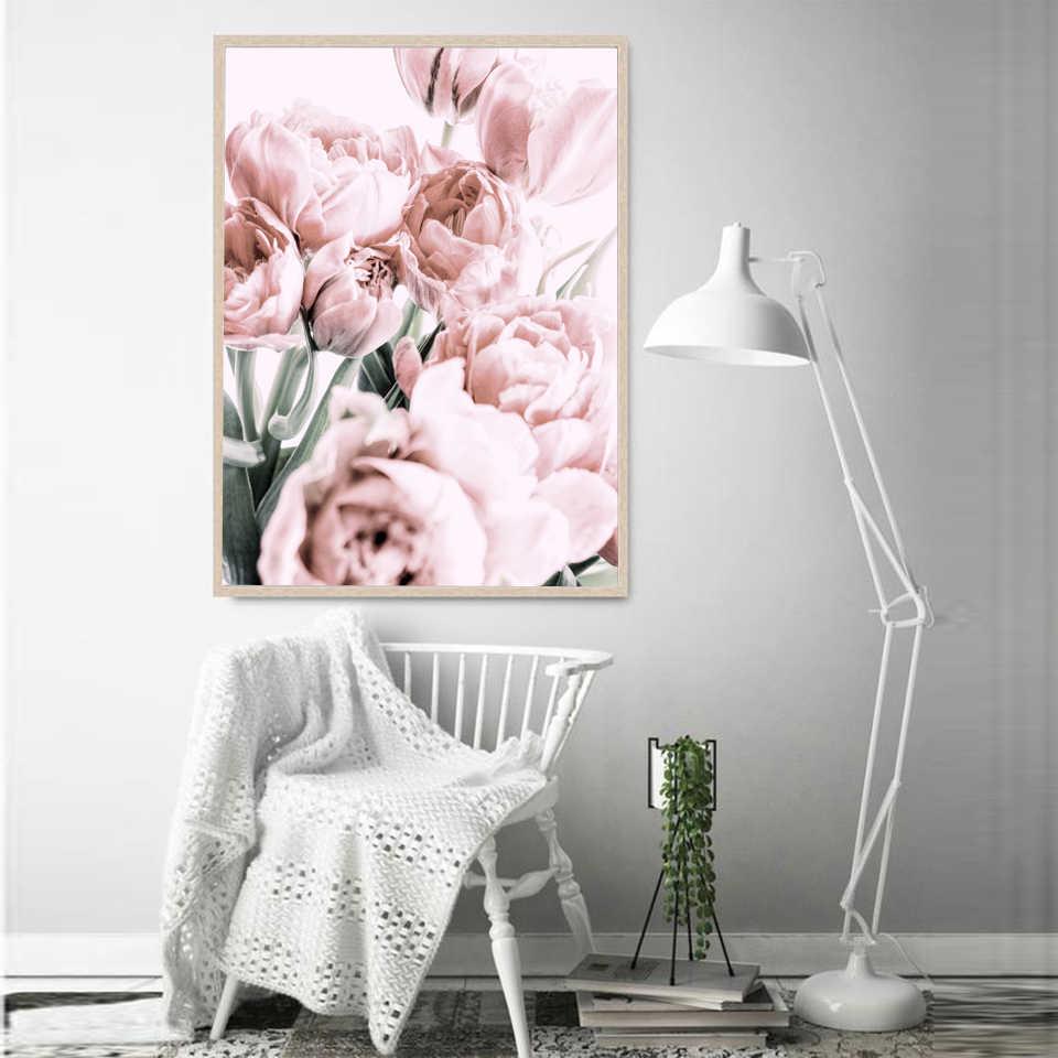 Nordic Fiori Poster Stampa Blush, fard Tulipano Immagini A Parete Per Soggiorno Scandinavo Moderno Immagini Arte della Tela di Canapa Pittura Decorazione