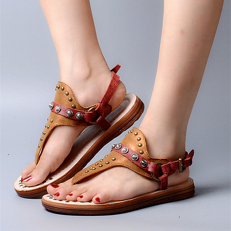 Brand Suede Leather Gladiator Sandals Women Beach Flip Flops Cool Metal Rivets Flats Dress Shoes Woman Big Size Women Slippers