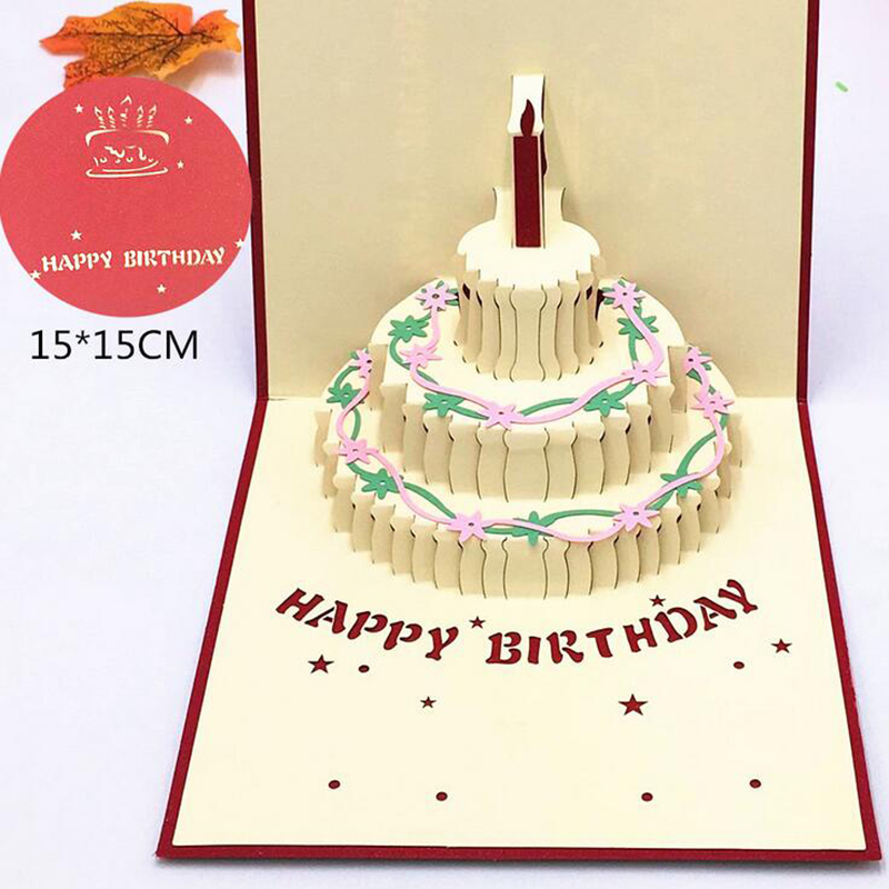 1pcs Happy Birthday Gift Cake Card Pop Up 3d Greeting Cards With Envelope Postcard Invitation Handmade Origami Anniversary Decor Cards Invitations Aliexpress