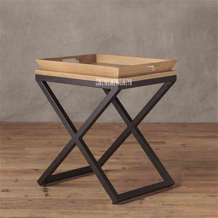 Small Apartment Tea Table Simple Solid Wood Living Room Coffee Table Bedroom Side Table Wooden Tray Solid Oak Iron Side Table