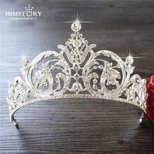 Himstory Shining European Rhinestone Tiaras Crowns Wedding Pageant Headband Crystal Bride Marriage Diadem Head Accessories