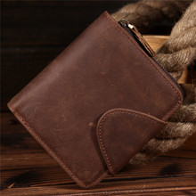 Mens leather vertical wallet crazy horse tidal head layer cowhide style 9032