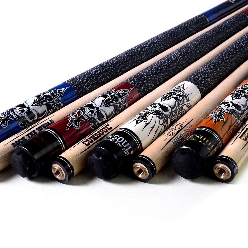 CUESOUL New Coming Rockin Series Maple Pool Cue Stick Set with Blue Carrying Cue Bag - 57