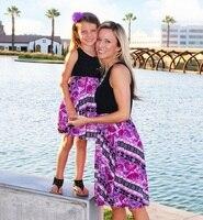 Мини платья для мамы и дочки семейная Одежда для мамы и меня мама мамочка дочки подходящая друг к другу одежда длиной выше колена платье Кос...