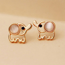 Women Men Gold Elephant Stud Earrings White Pink Rhinestone Cat Eye Stone Opal Earring Ear Jewelry Accessories Pendientes(China)