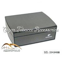 COHIBA Luxury Black Carbon Fiber Cedar Wood Cuban Cigar Humidor MINI Storage Box with Hygrometer Humidifier