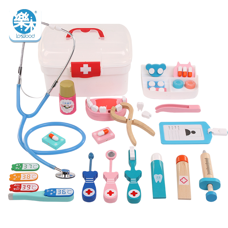 Wooden Toys Funny Children Kids Play Real Life Cosplay Doctor Dentist Toys Medicine BoxPretend Doctor Play Toys For Baby Gif