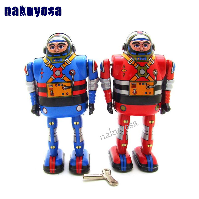 Classic Toys For Boys : Blue red retro astrounaut robot wind up toys classic tin