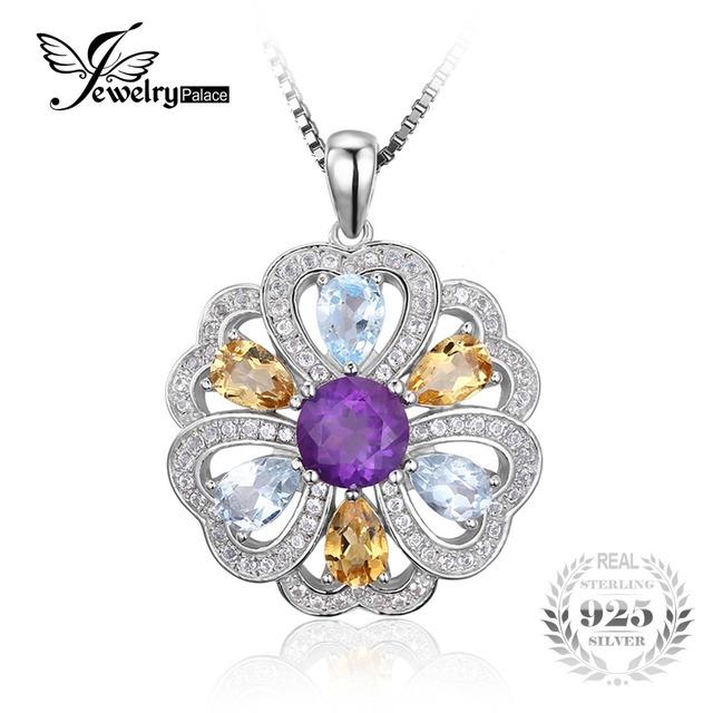 Jewelrypalace 4.1ct natural ametista citrino coração flor céu azul branco topaz pingente 925 sterling silver não incluede uma cadeia