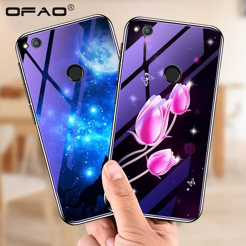 Glass Phone Case For Huawei Honor 8 Lite/ P8 Lite(2017) / P9 Lite (2017) Cases Plating Blue Light Luxury Glass Cover Fundas Capa