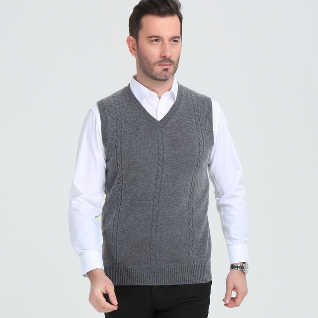 Cashmere sweater mens V collar winter  vest fashion youth business casual knitted sweater coat brand