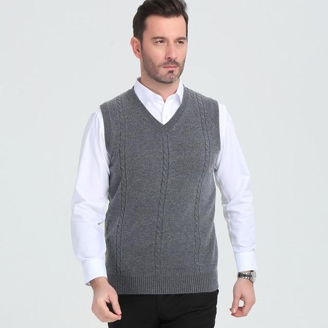 เสื้อกันหนาวผู้ชาย V คอฤดูหนาวเสื้อกั๊กแฟชั่นธุรกิจเยาวชนสบายๆถักเสื้อกันหนาวยี่ห้อ