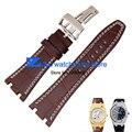 Натуральная кожа Ремешок Для Часов Спортивные часы ремешок наручные часы группа Браун с белый прошитой 28 мм Мужские Часы аксессуары