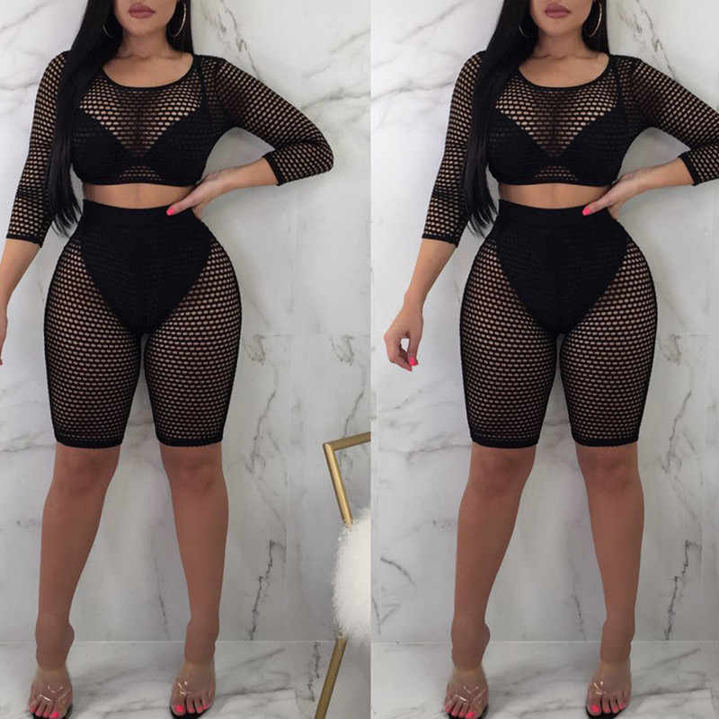 2018 Women Summer Casual Solid O-neck Three Quarter sleeve tops shorts two piece set Female Suit Set Women's Costumes