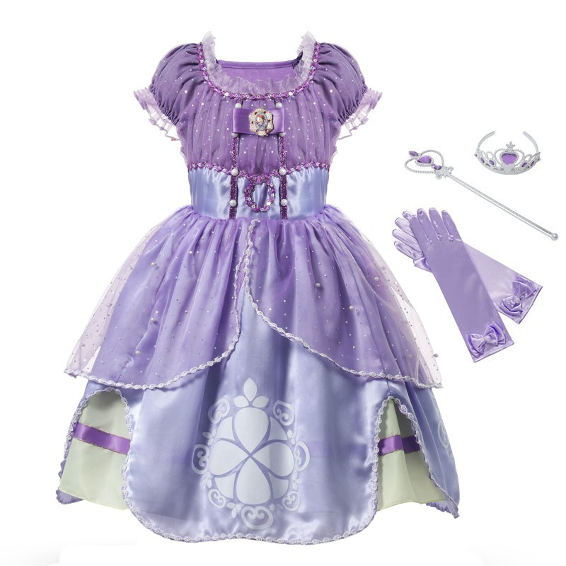 MUABABY Girls Sophia Princess Costume Children 5 Layers Floral Sophia Party Gown Girl Halloween Fancy Dress up Outfit Clothes summer dress girl dress girltutu dress - AliExpress