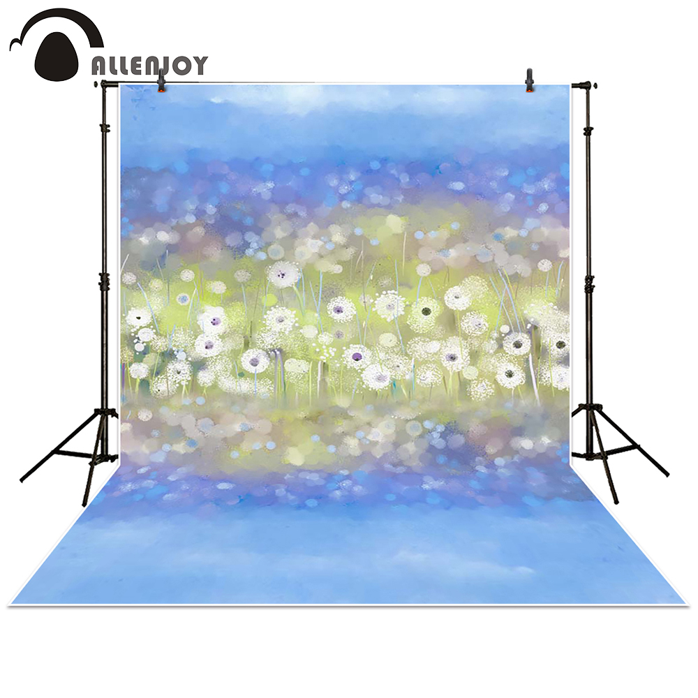 Allenjoy photography backdrop watercolor Flower dot blue hazy bokeh baby shower children background photo studio photocall