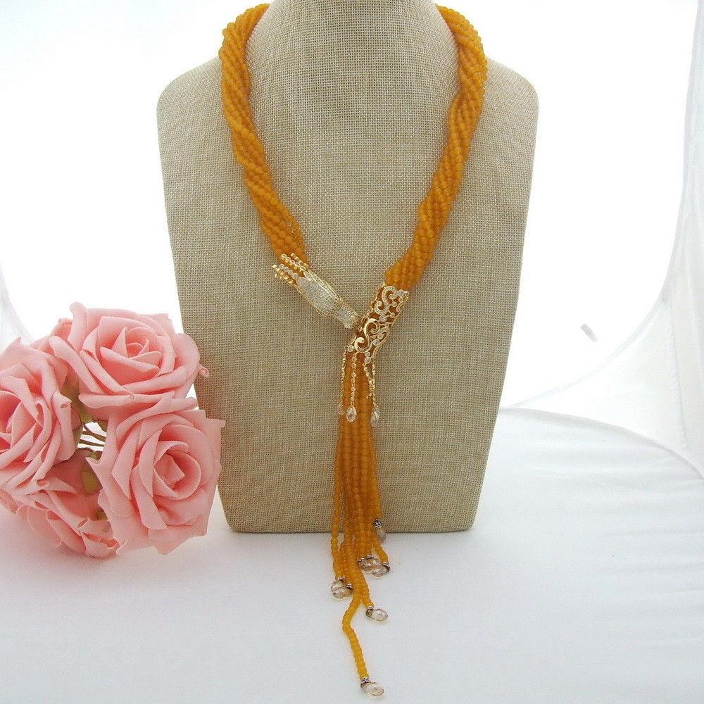 N051701 22 8 brins collier en cristal jaune connecteur CZN051701 22 8 brins collier en cristal jaune connecteur CZ