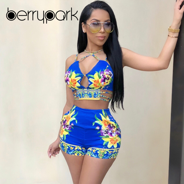 42310135018e4 BerryPark Floral Print Hollow Out Bandeau Bikini Set 2019 Summer Women High  Waist Hot Shorts Running Sport Suit Beach Swim Wear