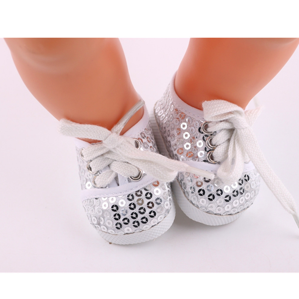 White sequin shoes for 18 inch American girl doll for baby gift, 43cm Baby Born zapf,Doll accessories [mmmaww] christmas costume clothes for 18 45cm american girl doll santa sets with hat for alexander doll baby girl gift toy