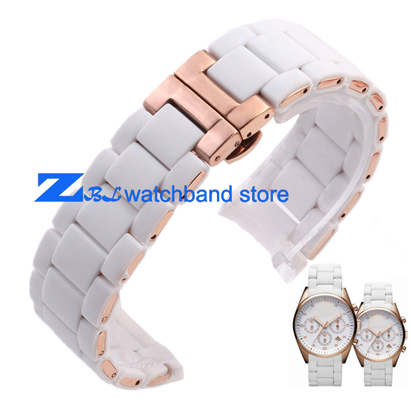 Rubber watchband Rose gold in White silica gel for AR5919 male 23mm  AR5920 female 20mm watch strap wristwatches band