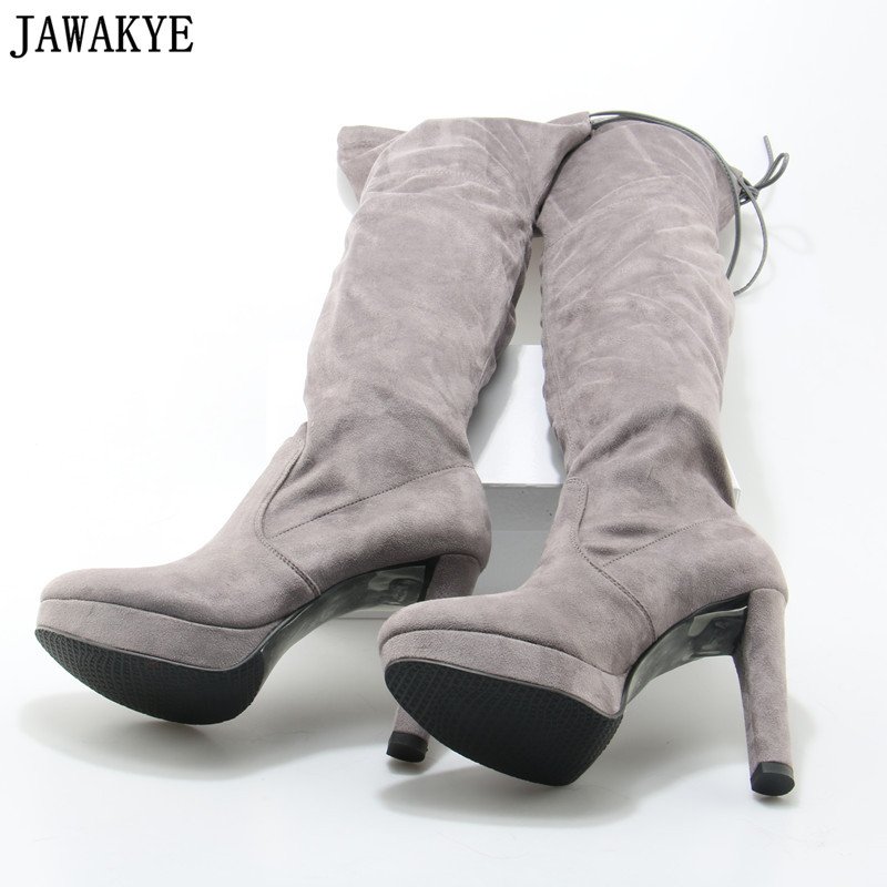 JAWAKYE Slim Women Thigh High Stretch Boots Gray Black Flock Suede Mujer Zapatos Female Fashion Platform High Heel Long Boots JAWAKYE Slim Women Thigh High Stretch Boots Gray Black Flock Suede Mujer Zapatos Female Fashion Platform High Heel Long Boots