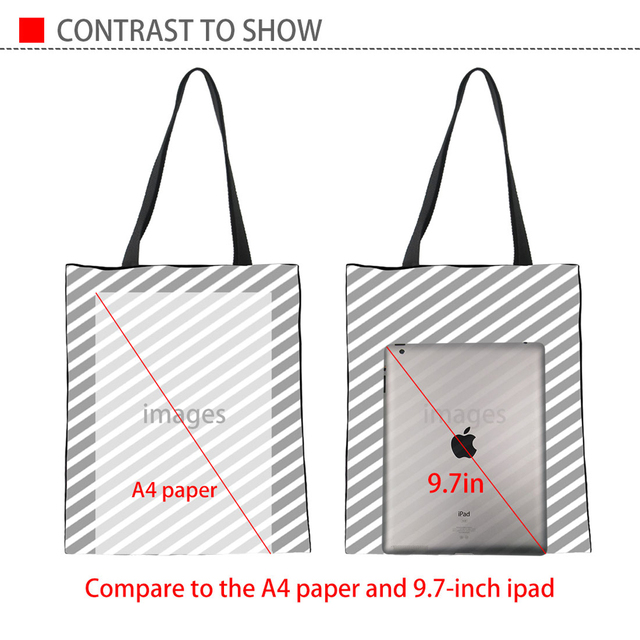INSTANTARTS sac de shopping décontracté femme, sac en toile de lin en 3D pour chiot, avec chien imprimé de marque de mode pour femme