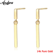 Real Pure 14k Gold Long Stud Earrings Women Wedding Yellow Jewelry Brincos Fine