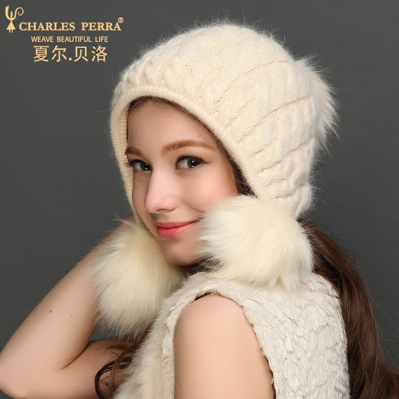 Charles Perra dámské pletené čepice s Pom Pom Winter Double Layer Thicken Thermal Fashion Wool Caps Casual Casual Beanies 5309