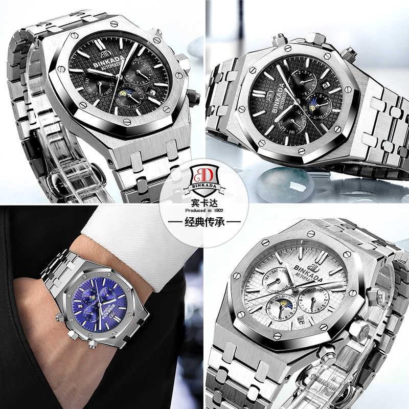 Binkada 2016 marca de luxo topo relógio esportivo dos homens automático fase da lua relógios mecânicos moda aço inoxidável relogio