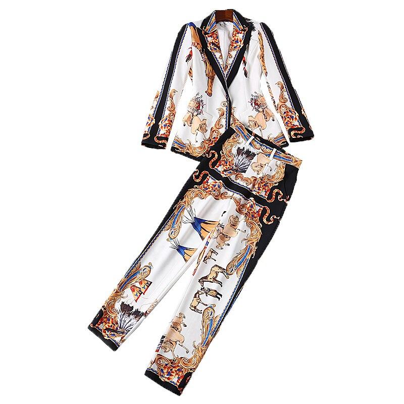 חליפת סט מסלול מעצב אופנה סתיו באיכות גבוהה XF 2018 סטי מעיל + מכנסיים מודפסים שתי חתיכה של נשים שרוול הארוך חליפת