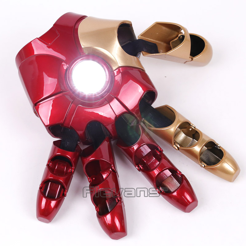 Marvel Avengers Iron Man Gloves with LED Light Left / Right Hand PVC Action Figure Collectible Model Toy (can charge) marvel iron man 3 mark 1 egg attack pvc action figure with led light collectible model toy 8 20cm