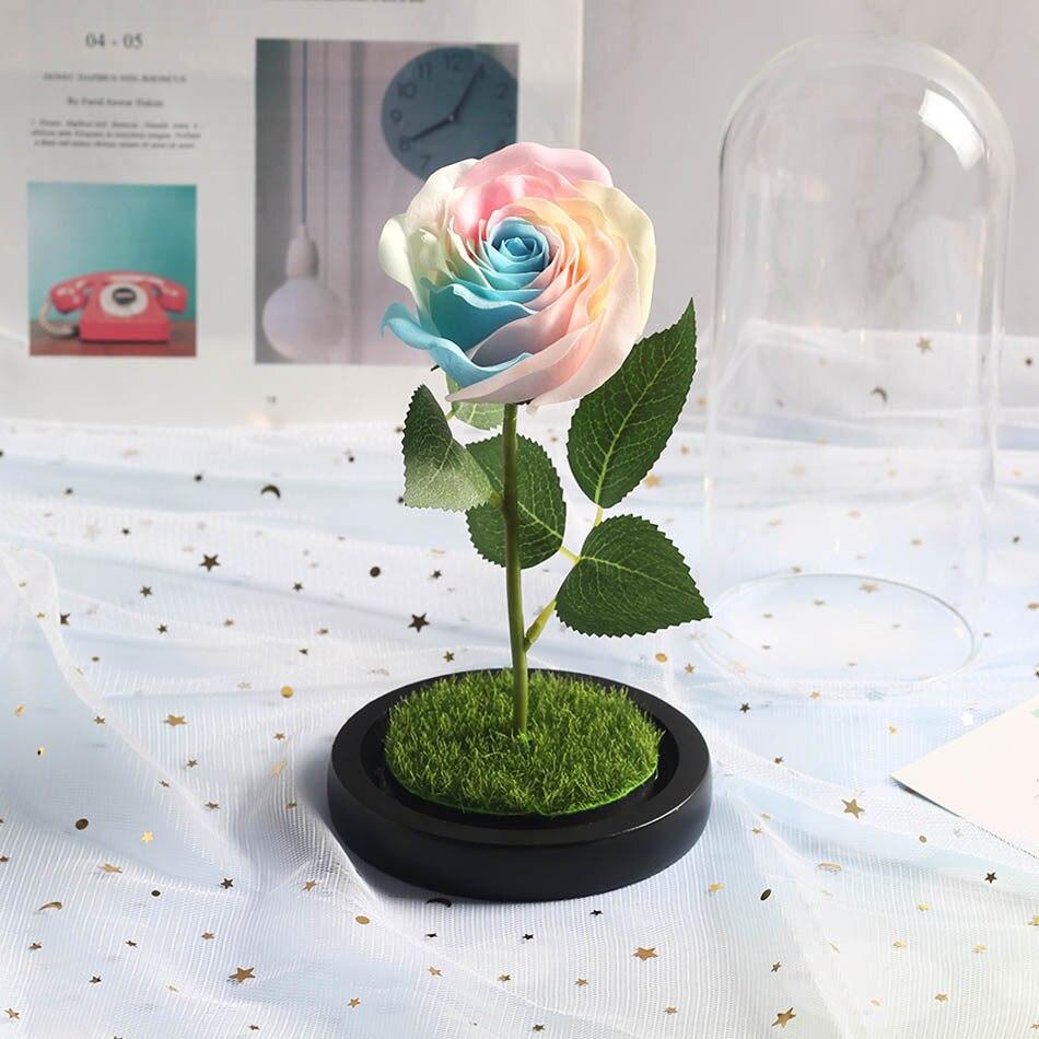 Красота и с рисунком из мультфильма «Красавица и Чудовище» в виде красных роз с яркие светодиодные светильник в Стекло купол для Свадебная вечеринка, подарок на день Святого Валентина, подарок на день матери
