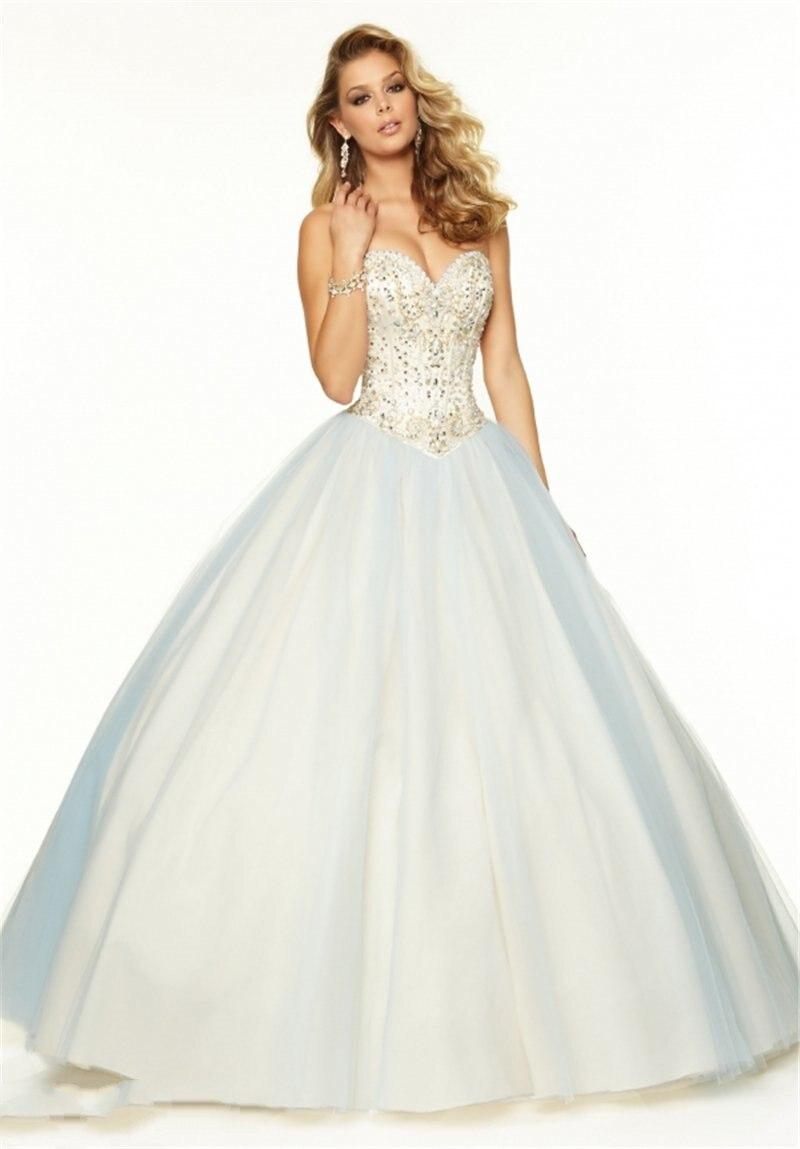 2015 New Arrival Sleeveless Beaded White Prom Dresses Long Ball Gown ...