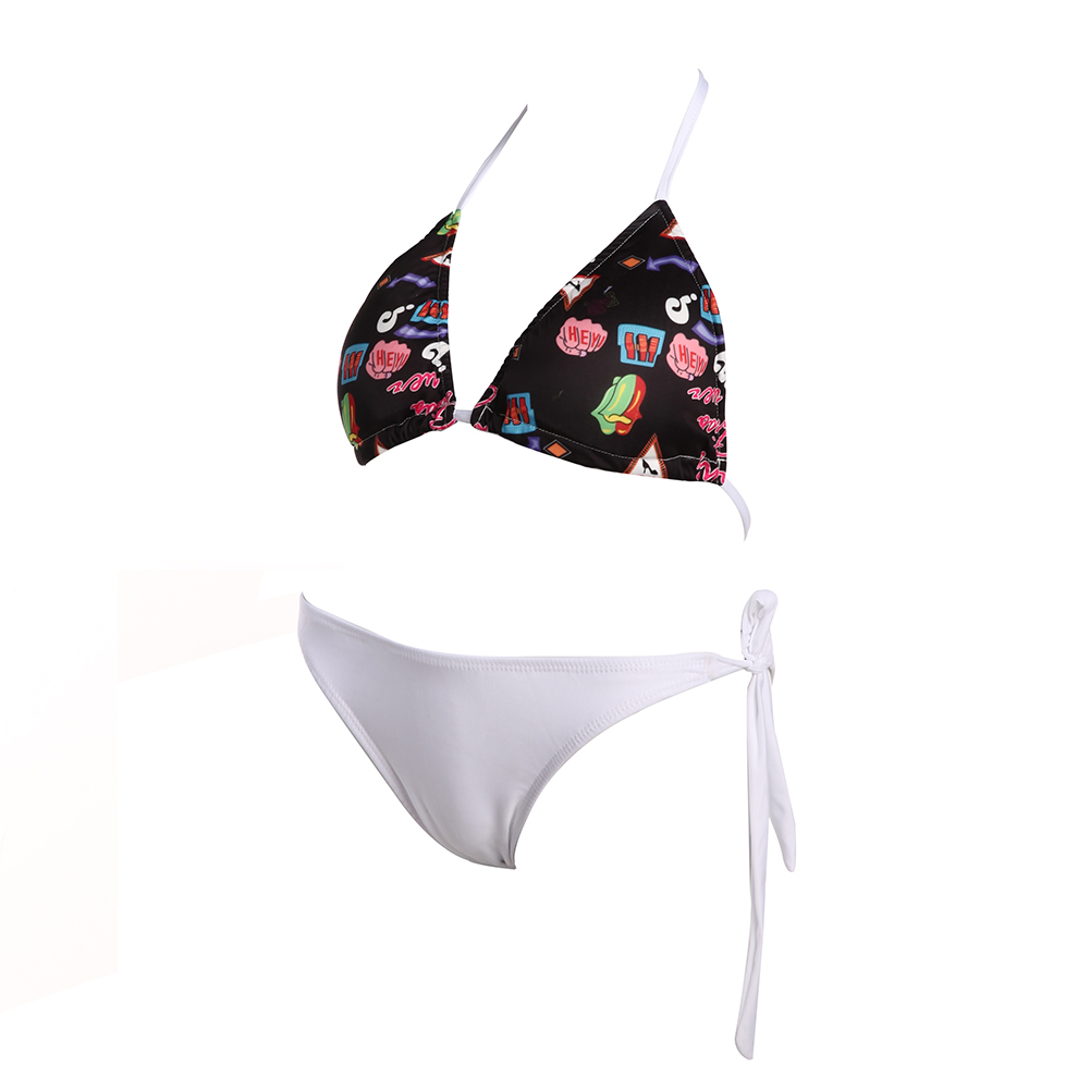 Women Sexy Floral Printed Bikinis Halter Padded Split Swimsuit 2017 Women Swimwear Summer Beach Suit Bandage Bikini Set 2