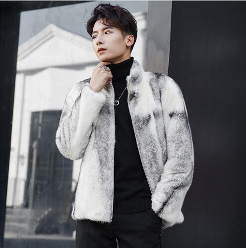 Véritable vison fourrure veste hommes nouveauté réel fourrure manteau hommes haute qualité vison martre fourrure vêtements mâle croix vison