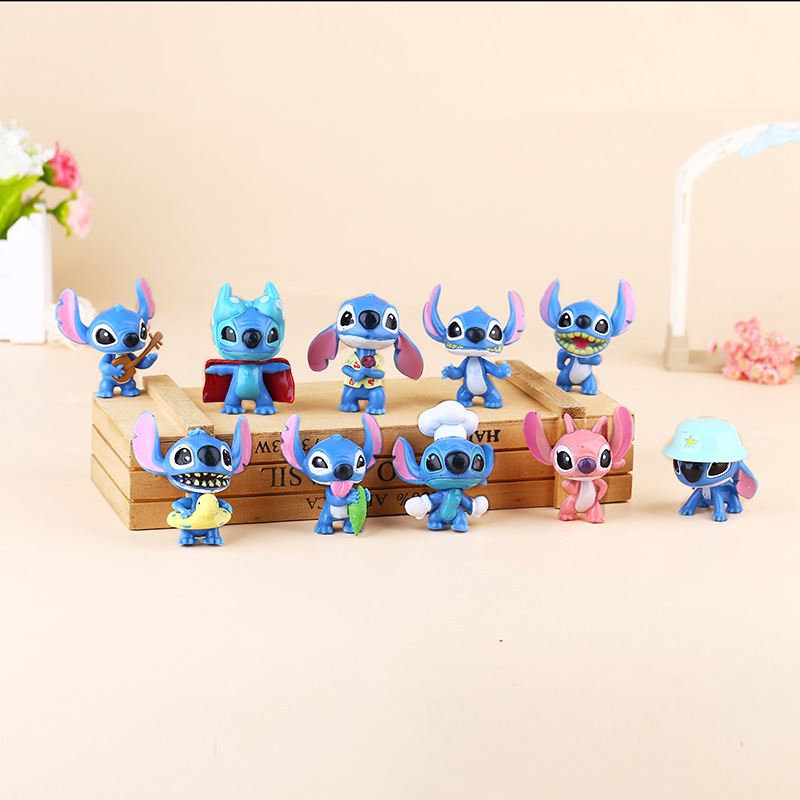 10pcs 5cm Stitch Doll font b Toy b font Stich Q Scrump Kawaii Action Figures Juguetes