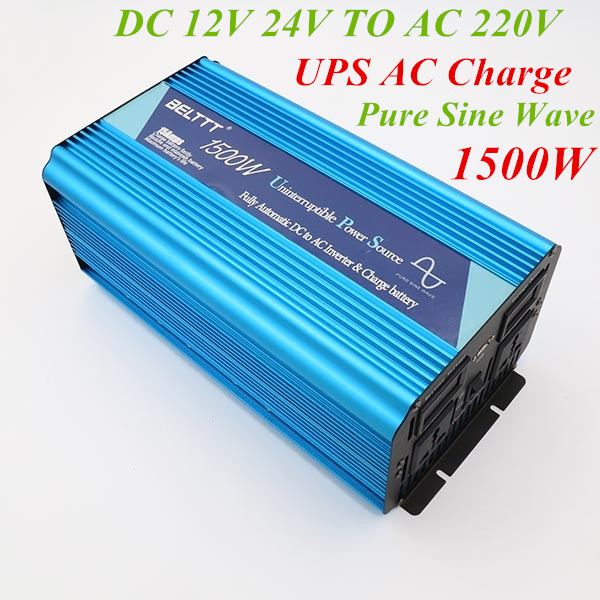 Inverter Charger 1500W Pure Sine Wave Inverter 12V 24V 220V Peak Power 3000W