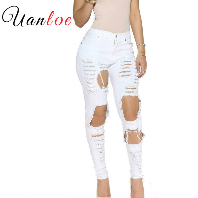 5c541c16a1411 2018 Stylish Big Holes Ripped Jeans Tassels Skinny High Waisted Pencil  Pants Women Cut Out Trousers Black White Woman Feminino