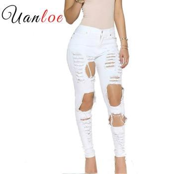 цена на 2019 Stylish Big Holes Ripped Jeans Tassels Skinny High Waisted Pencil Pants Women Cut Out Trousers Black White Woman Feminino