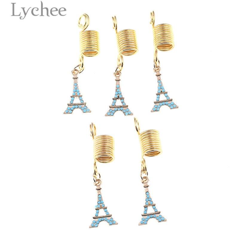 Lychee 5pcs Reggae Alloy Crystal Spring Hollow Hair Braid Dread Dreadlock Beads Clips Tower Cross Headwear Jewelry Men Women