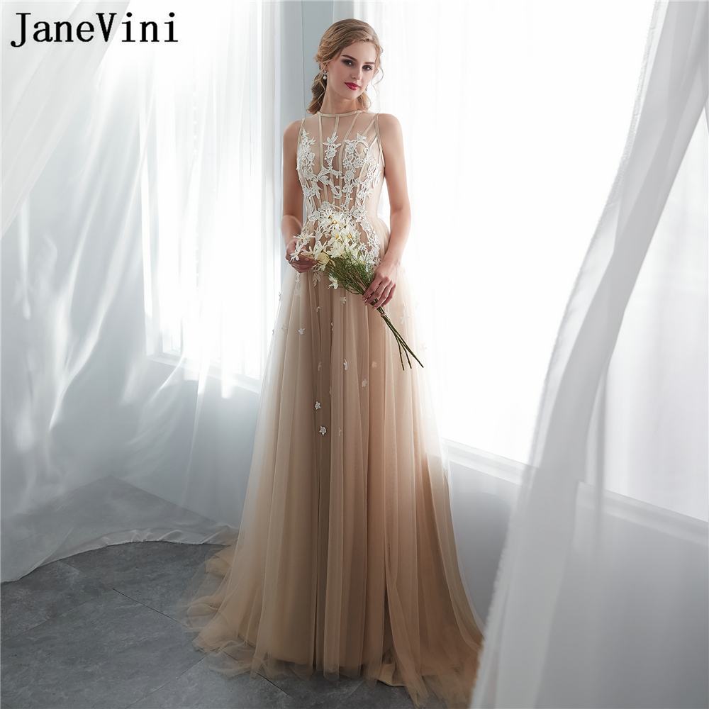 JaneVini 2018 Champagne Long   Bridesmaid     Dresses   A Line Lace Appliques Tulle Prom Gowns Sweep Train Robe De Demoiselle D'honneur