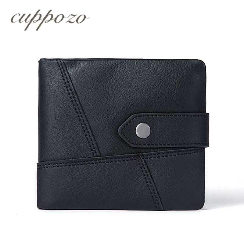 Cuppozo Short Design Clutch Genuine Leather Wallet Business Men Wallet Purse First Layer of Leather Multi-card Bit Coin Purse